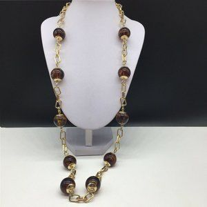 Talbots Gold Chain Tortoise Beaded Long Necklace